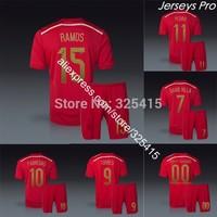 Camiseta espana nacional 2014 copa del Mundo spain home red soccer jerseys uniforms iniesta sergio ramos fabregas diego costa