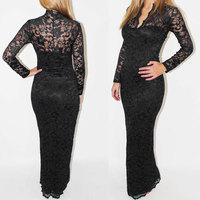 Fashion Women's  Lace sexy dress V-neck slim laciness  cutout long-sleeve formal dress plus size S-XXL 6196