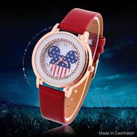 New Women Dress Watch USA Flag Crystal Hour Casual watch PU Strap Analog Ladies Quartz watches