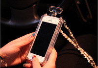 Luxury TPU Case  Bottle Case With Gold Leather Chain Handbag Case Cover For Iphone4 4s 5 5S