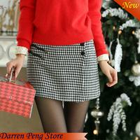 Wholesale  2014 Women New Fashion A-line High Waist Plaid Skirt Big Size XXL Ladies skirts