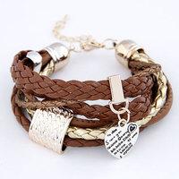 2014 New Brand Fashion Peach Hearts multilayer bracelets bangles Leather Bracelet For Women Men Jewelry Wholesale Pulseiras