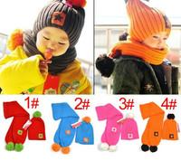 2014 New Winter Korean Caps Baby Hats Boys Girls Warmly Beanie Five Star Hat + Scarf Sets For Children's Autumn H38