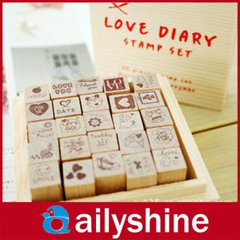 25 шт. / 1 комплект diy практическая красный любовь деревянный ящик марки люблю детей дневник украшения