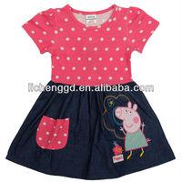 NOVA kids girl clothes new 2014 cotton fashion cute children dress baby girl peppa pig clothing girl print dress brand H4725
