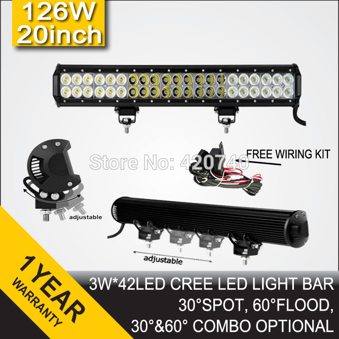 Free Shipping 20inch 126W Cree LED Light Bar Spot Flood Combo Beam Offroad Light 9-32V For Truck Tractor Trailer ATV UTV 4X4 SUV(China (Mainland))