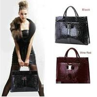 Luxury OL Lady Women Crocodile Pattern Hobo Handbag Tote Bag 2 Color Horizontal Version Free ShippingF1247