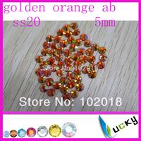 Free shipping 10 gross 1440pcs Hot sale highest quality HOT FIX DMC ss20 5mm rhinestone new color golden orange ab