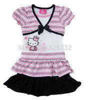 free shipping kitty girls 100% cotton dresses,childrens short-sleeve dresses above knee