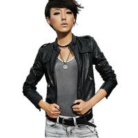 Black Brown Biker Motorcycle Pu Faux Leather Jackets Women Ladies Bomber Jacket Coats Jaquetas Spring 2015 New Brand Slim Short