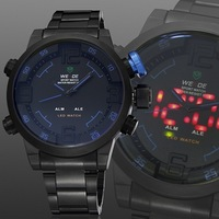 Hot sale weide army men quartzs watches wristwatches Led display black stainless steel band fashion popular watch male clock
