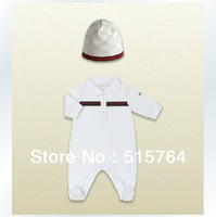 New arrival! Cotton baby boy rompers long sleeve newborn baby set boy jumpsuits hat 2 pcs baby set kids clothes