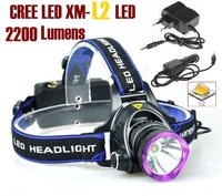 AloneFire HP81 cree led Headlight Cree XM-L2 LED 1800LM cree led Headlamp light +AC Charger/Car charger -Can OEM