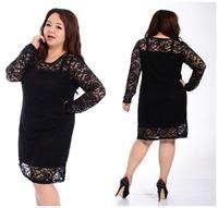 2014 Fashion Fat women big Size Lace Elegant Dress Femal plus size long sleeves Dresses High Quality Clothing