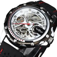 Winner new 2014 men mechanical hand wind self-wind watch casual steampunk military silicone watches men luxury brand wristwatch