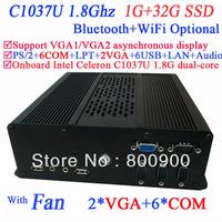 Mini PC Computers with Dual VGA 6 RS232 Intel Celeron 1037U dual-core processor 1.8Ghz 1G RAM 32G SSD WiFi 3G Bluetooth Optional