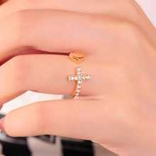 Promotion Love Heart Cross Full Crystals Rings o The Gold Plated Rings for women Gifts Wholesale