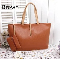 2014 Spring Simple Style Faux Leather Totes Handbags With A Purse Shoulder Bag Woman - Wholesale F2001