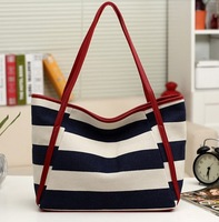 Navy Style Stripe Canvas Bag Casual All-match  Women's Handbag Shoulder bags Vintage Shopping bag