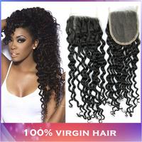 "Brazilian Virgin Hair Curly Top Lace Closure (4""X4"")10""-20"" Unprocessed Brazilian Virgin Human Hair Weaves More Wavy Closures"