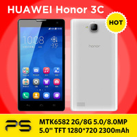 "5.0"" Huawei Honor 3C 1/4GB or 2/8GB 5.0/8.0MP 2300mAh Android 4.2 3G/GPS/BT LTPS 1280*720 MTK6582 Quad Core Dual Sim phone"