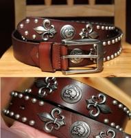 100% Genuine Leather 2014 Man Fashion Metal Punk  Skull HipHop Belt Mens Rock Rivet Long 130CM Rock Strap Cinto Ceinture TBT0092