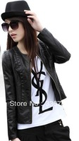 2014 Spring New Women's Wild Round-neck Short Soft PU Leather Jacket