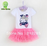 Free shipping! 2014 Summer Princess Carton KT 100% Cotton Baby Girl Dress Retail 2T-5T