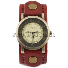 Free shipping!!!Cowhide Watch Bracelet,Designer Jewelry, with Zinc Alloy, antique bronze color plated, red, nickel