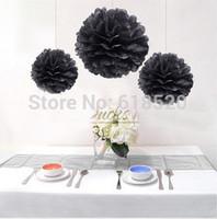 Free Shipping 15Pcs 35cm Black Color Tissue Paper Pom Poms Home Decor Lanterns Party Bridal Decorations