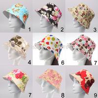 2014 NEW WOMEN fishing bucket hat Summer Beach Sun Hat floral flower hat