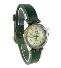 Free shipping!!!Cowhide Watch Bracelet,Wholesale Jewelry, with zinc alloy dial, antique bronze color plated, green, nickel