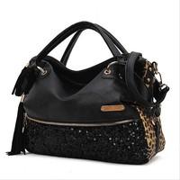2014 New Fashion Hot Sale casual leopard print bags one shoulder handbag women's handbag leather messenger bag F2007