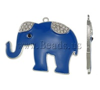 Free shipping!!!Zinc Alloy Animal Pendants,Women Jewelry, Elephant, platinum color plated, enamel & with rhinestone, blue