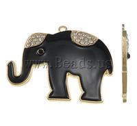 Free shipping!!!Zinc Alloy Animal Pendants,chinese style, Elephant, gold color plated, enamel & with rhinestone, black, nickel
