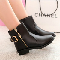 2014 drop shipping women spring and autumn single vintage zipper martin boots shoes flat round toe low-heeled motorcycle boots