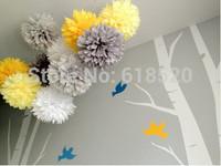 Free Shipping 5Pcs 30cm Tissue Pom Pom Paper Flower Ball Paper Lanterns Decor Craft Wedding Party Baby Shower Decorations
