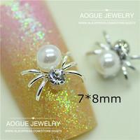 20pcs/lot 3D clear rhinestones pearl spider nail art decoration