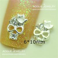Fashion 3D Alloy Clear rhinestone skull Nail Art Decoration Rhinestone Glitters decoration 20pcs/lot