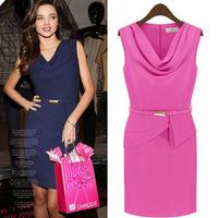 Women summer  dresses  famous brand chiffon dress party evening elegant female sleeveless clothing spring 2014  sh015