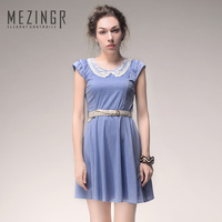 Hot!New arrival 2014 spring beading decoration peter pan collar 100% cotton slim one-piece dress women's dress