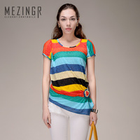 Hot!New arrival 2014 multicolour stripe color block short-sleeve sweater three-color women short-sleeve wool sweater