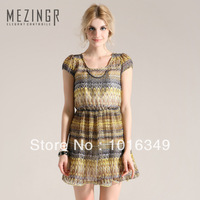 Hot!New arrival 2014 gentlewomen pattern elastic waist short-sleeve dress women office dress