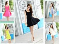 2014 new fashion 5 colors women's summer tank O-neck mini dress black yellow gray beige pink 287