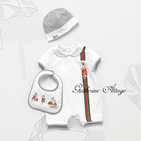 Retail,High Quality 2014 new arrival summer  kids brand baby boy&girl bodysuits set shorts 3 pcs Children's clothing