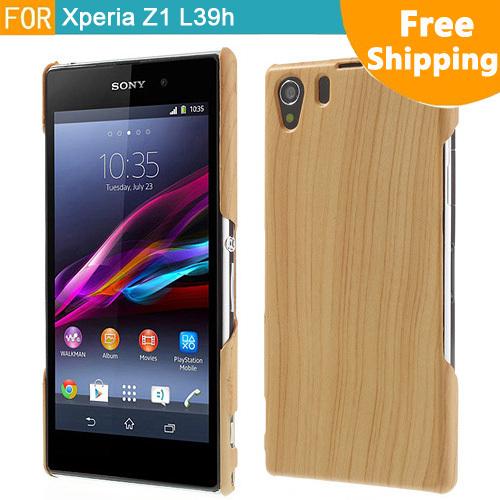 Casos de madeira texturizado Series Back capa dura para o Sony Xperia Z1 Honami L39h C6902 C6903 C6906 Frete Grátis(China (Mainland))