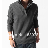Spring and autumn men's faux two piece sweater male slim stand collar thickening sweater men's clothing
