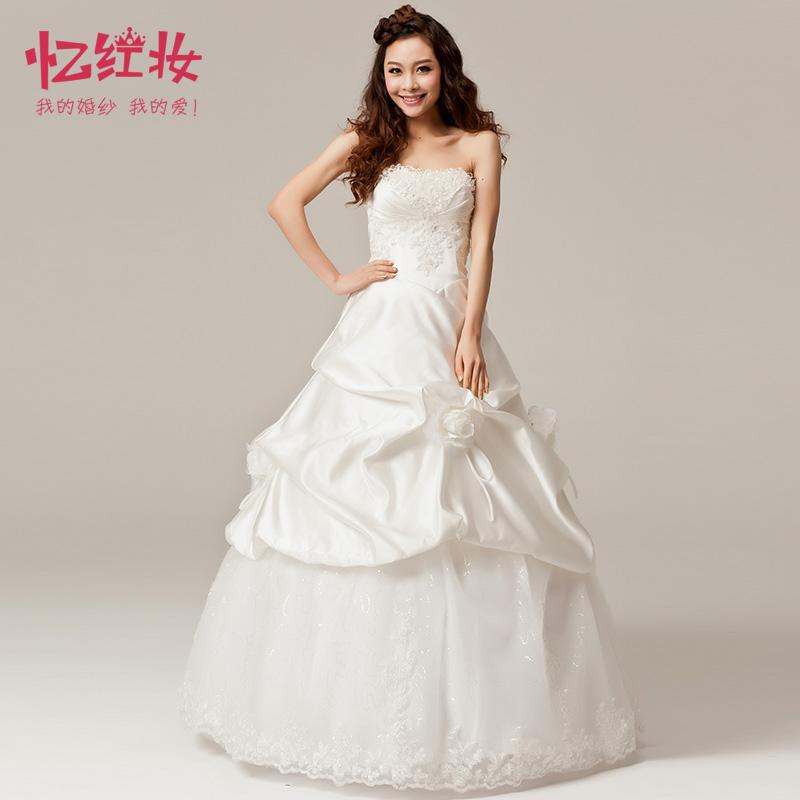 Satin wedding dress formal dress princess tube top hunsha winter bride(China (Mainland))