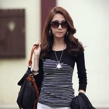 2014 Women Spring Summer Autumn New Fashion Korean Style Slim Striped O-neck Long Sleeve Cotton Tops Tshirts Blouses