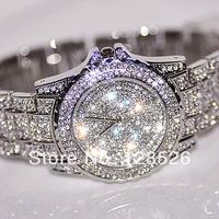 Women Rhinestone Watches 2014 Ladies Dress Watches Full Diamond Crystal Women's Luxury Watches Female Silver Quartz  Watches